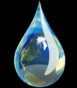 Goutte d'eau avec la terre à l'intérieur.